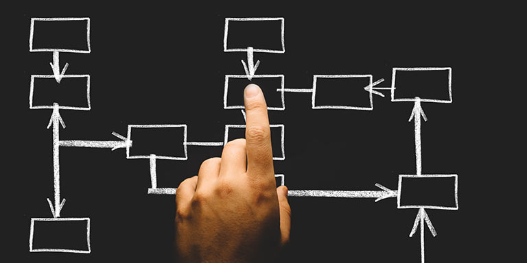 handing pointing to center of flow chart